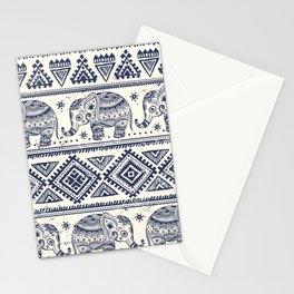 Vintage ethnic aztec with lovely elephants hand drawn illustration pattern Stationery Cards