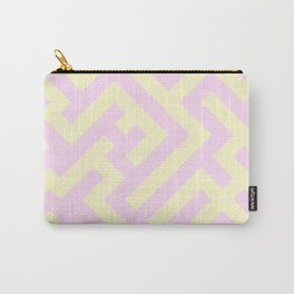 Cream Yellow and Pink Lace Diagonal Labyrinth Carry-All Pouch
