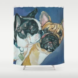 Fanci-Pants and Louie French Bulldogs Shower Curtain