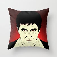 scarface Throw Pillows featuring Scarface by Renan Lacerda