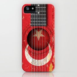 Old Vintage Acoustic Guitar with Turkish Flag iPhone Case