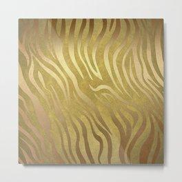 Golden Bronze Zebra Metal Print
