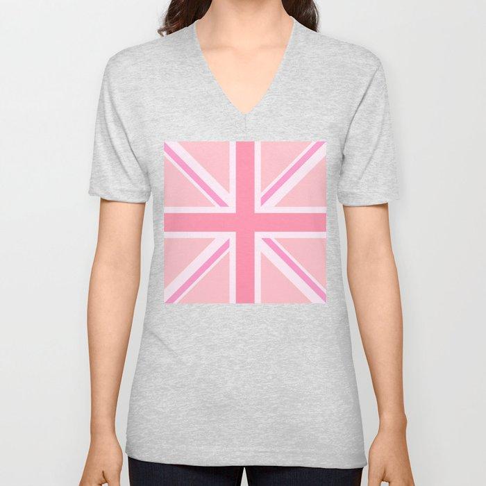 Pink Union Jack/Flag Design Unisex V-Ausschnitt