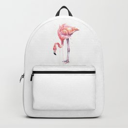 Flamingo Watercolor Painting Pink Tropical Birds Facing Left Backpack