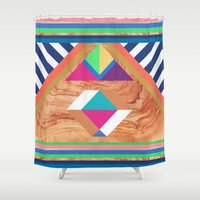 woody Shower Curtains featuring WOODY II by Bianca Green