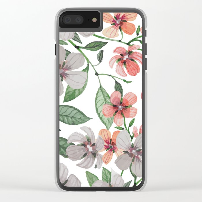 FLOWERS WATERCOLOR 12 Clear iPhone Case