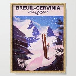 Breuil-Cervinia Valle d'Aosta Italy Ski poster. Serving Tray