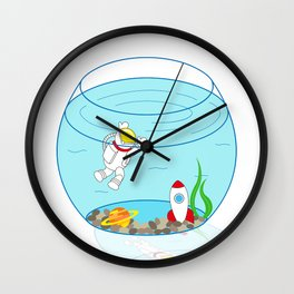 Space Fishbowl | Astronaut Fishbowl | Swimming Astronaut | Space in a Fishbowl | pulps of wood Wall Clock