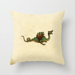 Medieval Green Dragon Throw Pillow