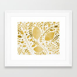 Branches and leaves - yellow Framed Art Print