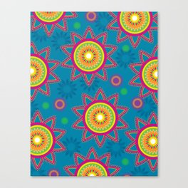 Moroccan Flower Blue Canvas Print