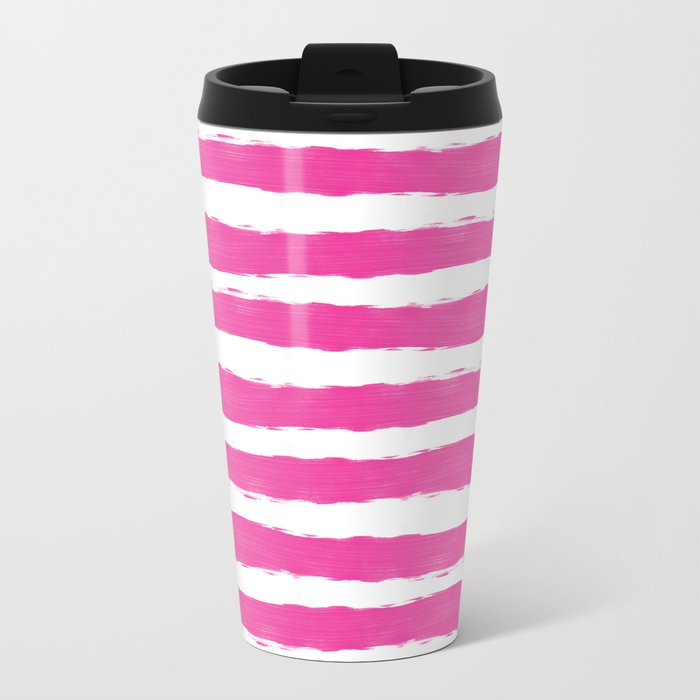 Simple pink and white hand drawn stripes - horizontal - for your summer on #Society6 Metal Travel Mug