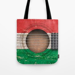 Old Vintage Acoustic Guitar with Hungarian Flag Tote Bag