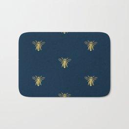 French Bee Pattern Bath Mat