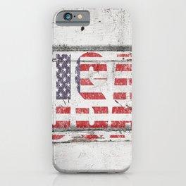 USA White Shiplap Wall Print iPhone Case