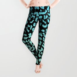 Leopard Blue Watercolor Gradient Leggings