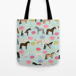 Horses Donuts - horse, donut, pastel, food, horse blanket, horse bedding, dorm, cute design Tote Bag