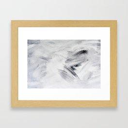 White Black artwork paintbrush strokes Framed Art Print