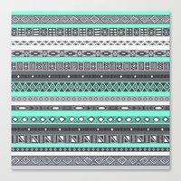 tiffany Canvas Prints featuring Tiffany Turquoise Aztec Print by RexLambo