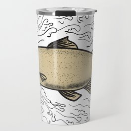 Brown Trout Waves Tattoo Travel Mug