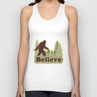 bigfoot Tank Tops featuring Bigfoot Believe by Heather Green