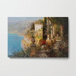 Amalfi Coast Campania, Italy Garden Terrace Vineyard and Flowers landscape seaside painting Metal Print