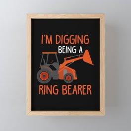 Ring Bearer Kid Tractor lover Wedding Son Farmer Framed Mini Art Print