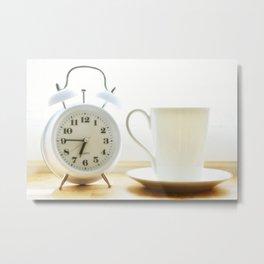 Alarm clock and coffee cup Metal Print