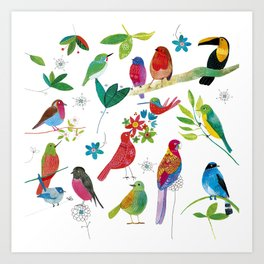 Birds meeting Art Print