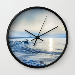 Frozen wharf and Halo Wall Clock