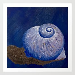 Purple Moon Snail Shell Art Print
