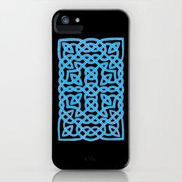 Black and Aqua Celtic Interlace iPhone Case