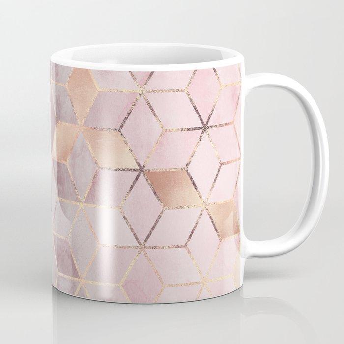 Pink And Grey Gradient Cubes Coffee Mug