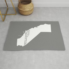 Home is California - state outline in gray Rug
