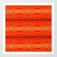 Orange Aztec Pattern 2 Art Print