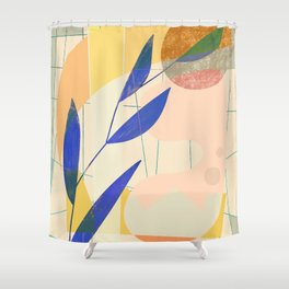 Shapes and Layers no.9 - Leaves and Grid Shower Curtain