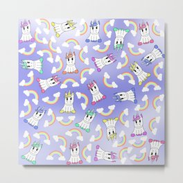 Cute Girly Unicorns and Colorful Rainbows Pattern Metal Print