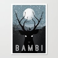 bambi Canvas Prints featuring Bambi by Rowan Stocks-Moore