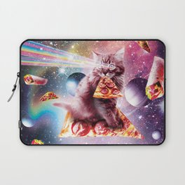 Outer Space Pizza Cat - Rainbow Laser, Taco, Burrito Laptop Sleeve