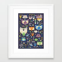 wild things Framed Art Prints featuring Wild Things by Paula McGloin Studio