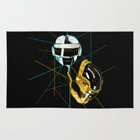 daft punk Area & Throw Rugs featuring Daft Punk by Naje Anthony Hart