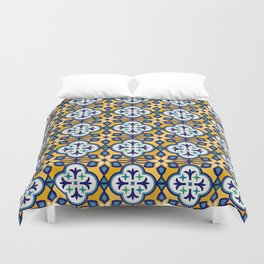 Yellow and Blue Moroccan Tile Duvet Cover