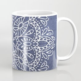 Mandala Vintage White on Ocean Fog Gray Coffee Mug