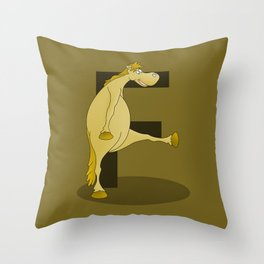 Pony Monogram Letter F Throw Pillow