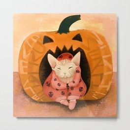 Sweater Weather - Sphynx Cat in a Skull Sweatshirt  - Pumpkin Metal Print