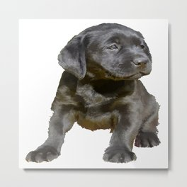 Adorable and Cute Black Labrador Puppy Vector Metal Print