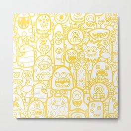 Cute Monsters White Yellow Pattern Metal Print