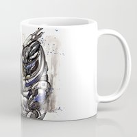 garrus Mugs featuring Garrus from Mass Effect sumie style with Japanese calligraphy by mycks