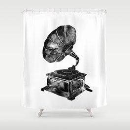 GRAMOPHONE, black and white Shower Curtain
