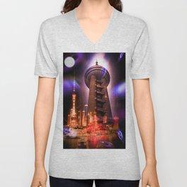 Full moon - Moments Shanghai Oriental Pearl Tower Unisex V-Neck